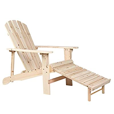 Rimiking Outdoor Foldable Wooden Reclining Chair with Pullout Ottoman