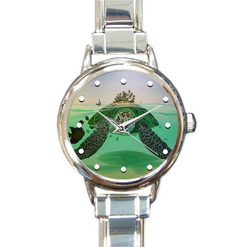 Special Design Cute and Beautiful Sea Turtle Island Round Italian Charm Watch