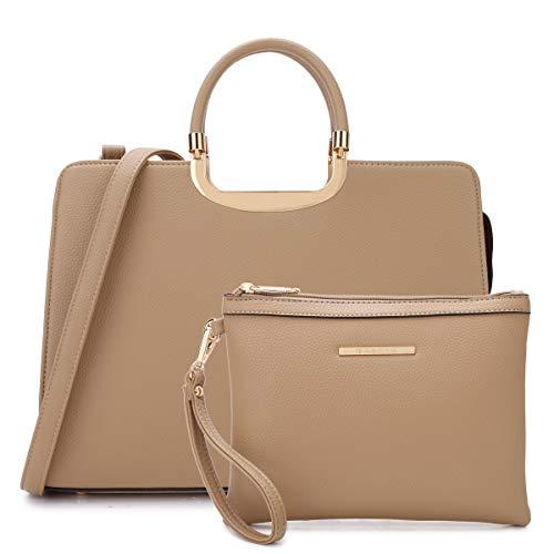 (MMK collection Fashion Bamboo handle Handbag for Women with Free Key Chain(2575~Signature fashion Designer Purse~ Beautiful Designer Purse & Women Satchel Purse (XL-19-2828-BG) )