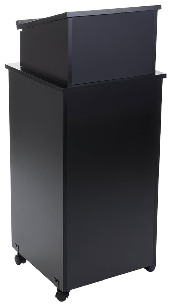 Displays2go Black Speaker Lectern, Elevated Reading Surface, Enclosed Storage Area, Melamine MDF - Black (LCTTBLRBKD)