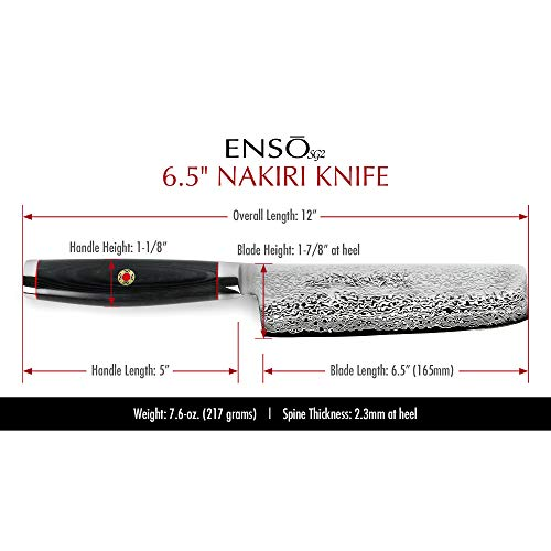 Enso SG2 Nakiri Knife - Made in Japan - 101 Layer Stainless Damascus, 6.5'' by Enso (Image #1)