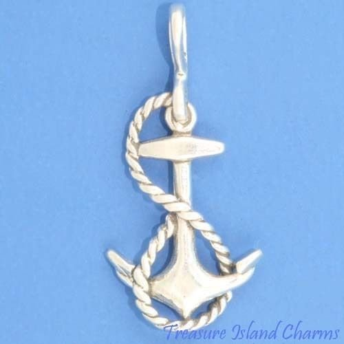 Ship Anchor with Rope 3D 925 Solid Sterling Silver Charm Pendant Crafting Key Chain Bracelet Necklace Jewelry Accessories Pendants (Rope Bracelet Baguette)