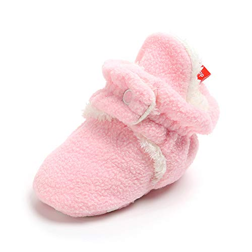 (Sawimlgy Baby Boys Girls Warm Fleece Ankle Booties Soft Sole Shoes Grippers Slippers Prewalkers Frist Birthday Gift)