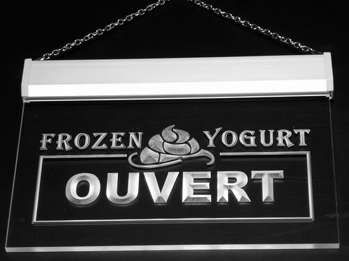 Multi Color j164-c OUVERT OPEN Frozen Yogurt Cafe Neon LED Sign with Remote Control, 20 Colors, 19 Dynamic Modes, Speed & Brightness Adjustable, Demo Mode, Auto Save Function