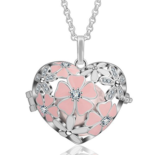 Ball 18mm Necklace Chain (AEONSLOVE Pink Cherry Blossom, Cubic Zircon Rhinestone Harmony Ball 18mm Pendant Chime Bell Necklace & 30'' Chain for Women (Peach))