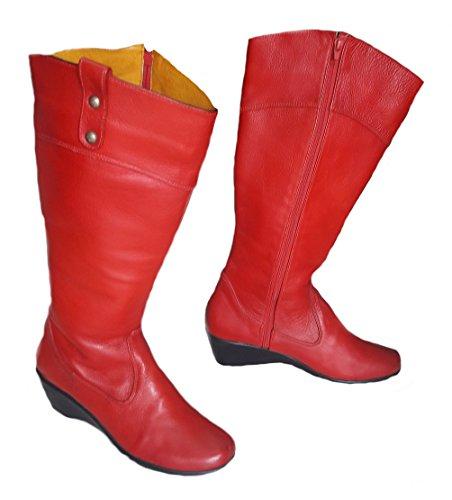 Alpacaandmore Laarzen Rode Vrouwen Winter Laarzen Sleehak 100% Koeienhuid Met De Hand Gestikte