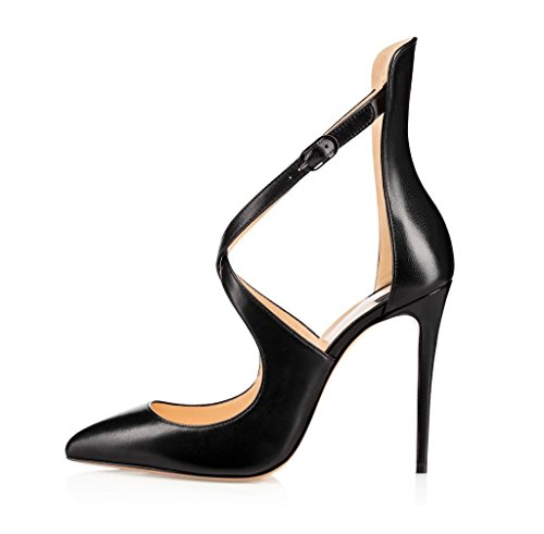 (Sammitop Women's Pointed Toe High Heel Ankle Strap Pumps Buckle Closure Dress Shoes Matteblack US7.5 )