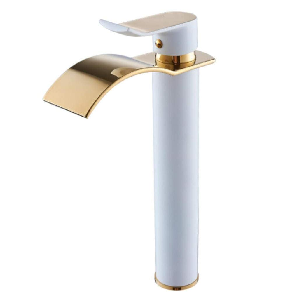 H Mucert All Copper Hot and Cold, Single Hole Basin Faucet, Washbasin, European Waterfall Faucet, Bathroom Cabinet Faucet,C