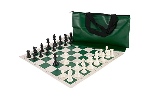 Deluxe Tournament Set Chess - Superior Chess Set Combination - Single Weighted - Forest Green Bag / Board - by US Chess Federation