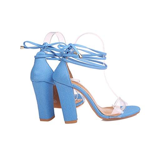 Blocco Trasparente Donna Partito Estate a ZKOOO Scarpe Tacco Sandalo Cinturino Alto Caviglia Punta Sandali Aperta Blu a 0ddqX