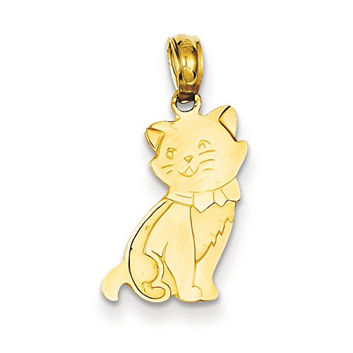 14 Carats Pendentif Chat Assis-JewelryWeb