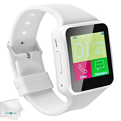 Bluetooth Smart Watch With Camera Touch Screen Unlocked Watch with SIM Tf Card Slot Smartwatch Pedometer Sport Bracelet Compatible Android Cellphone Samsung S9 S8 Plus S7 Huawei Motorola Xiaomi White