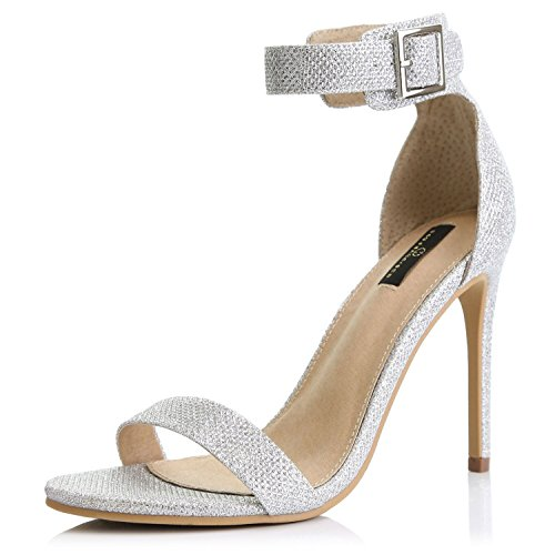 DailyShoes Women's Fashion Open Toe Ankle Buckle Strap Platform High Heel Casual Sandal Shoes, Silver Glitter, 6.5 B(M) US