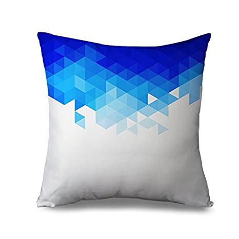 Azul y blanco almohada farsa para sofá cuadrado funda de ...