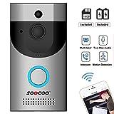 WIFI Video Doorbell, SOOCOO Smart Doorbell 720P HD 2.4G Wifi Security Camera Real-Time Video Two-Way Audio 16G Card & 2 Batteries, IP65 Waterproof, PIR Motion Detection,Night Vision, APP Smart Monitor