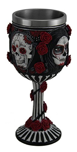 Resin Goblets Sugar Skull By James Ryman Black White & Red Day Of The Dead Rose Goblet 3.5 X 7 X 3.5 Inches Black by Zeckos