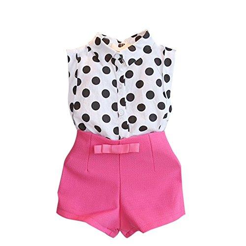 (Baby Shorts Set MITIY Girl Child Kid Polka Dot T-Shirt Tops + Pink/Black Bowknot Pants Shorts 1Set (6-7Y, Hot Pink))