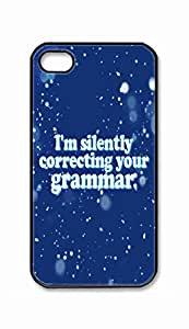Foreverway Custom iPhone 4 4S 4G Case , I'm / Im Silently Correcting Your Grammar Hard Plastic Protective Cases Cover --1834