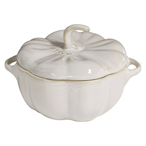 Staub 40511-840 Ceramics Pumpkin Cocotte, 24-oz, Rustic Ivory (Pumpkin Serving Dishes)