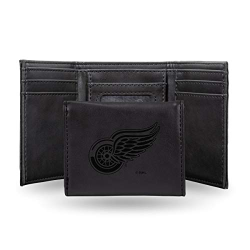 Rico Industries NHL Detroit Red Wings Laser Engraved Tri-Fold Wallet, Black
