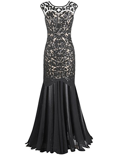 PrettyGuide Women 's 1920s Art Deco Sequin Gatsby Formal Evening Prom Dress L Black Beige]()
