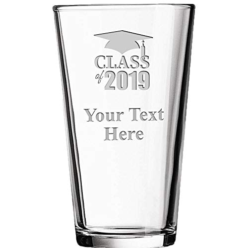 Custom Engraved Graduation Beer Tumbler, 16 oz Class Of 2019 Drinking Glass Gift Personalized With Your Own Engraving Text Prime]()