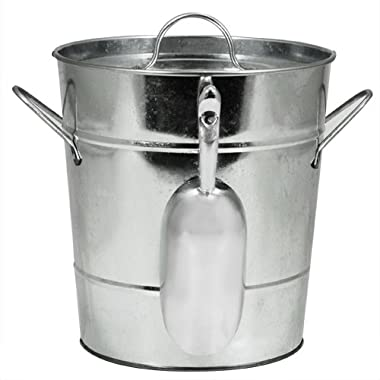 "Country Home Galvanized Metal Ice Bucket by Twine – (8.5"" x 7.8"" x 7.8"")"