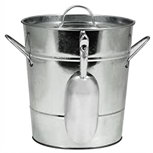 """Country Home Galvanized Metal Ice Bucket by Twine – (8.5"""" x 7.8"""" x 7.8"""")"""