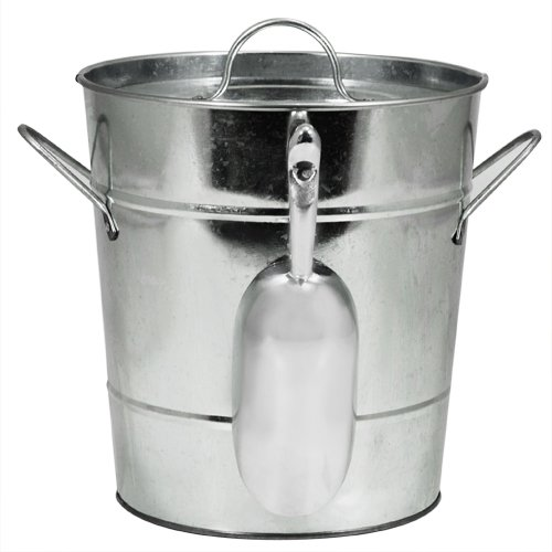 "Tin Ice Buckets - Twine Country Home Galvanized Metal Ice Bucket by (8.5"" x 7.8"" x 7.8"")"
