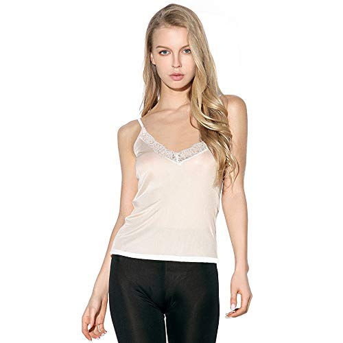Women's V- Neck Silk Cami Tank Top, Sexy Lace Camisole Undershirts,White,Medium (Scoop Camisole Silk)