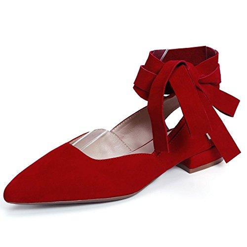 Nine Seven Cuero Moda Puntiagudos Bailarinas Planos con Correa de Tobillo para Mujer Rojo