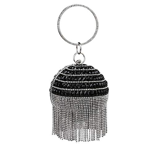 Parties Bag Bag Wedding Handbags Occasions Black Rhinestone Ladies Evening Elegant And For Banquet Spherical Evening Fringe Handbag Fashion zSqOxw5
