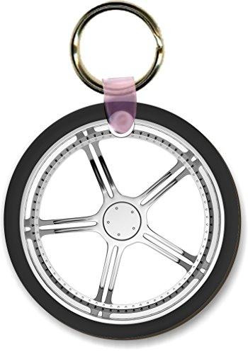 Wheel Shape Keychain - Rikki Knight Car Wheel on White Design Round Shape Key Chains (Set of 2), Brown