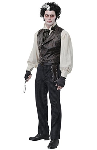 XCOSER Weeney Todd Cosplay Costume Gothic Vintage Outfits for Adult XL]()