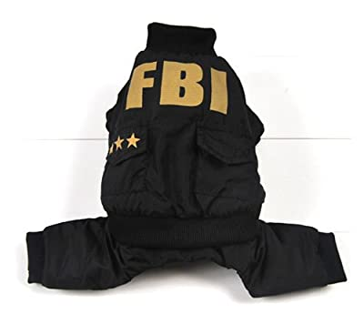 eSingyo FBI Costume Down Coat Winter Outfit Jacket Jumpsuit Small Pet Dog Clothes XS S M L XL