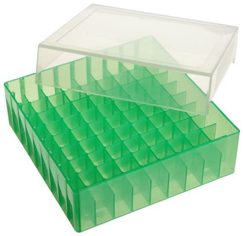 Bel-Art F18852-0013 81-Place Plastic Freezer Storage Boxes; 5.5 x 5.5 x 1.9 in., Green (Pack of 5)