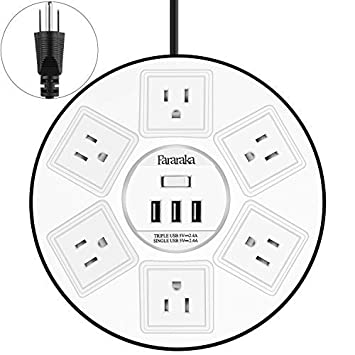 Round Power Strip Surge Protector with Overload Protection, UFO Slim Design with 6 Outlet and 3 USB,2500W 9.8 Feet Extension Cord, Desktop Charger Station White