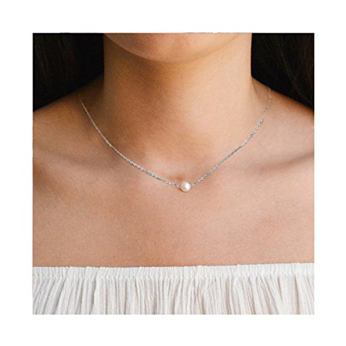 925 Sterling silver choker necklace- for Teen Girls Cute Freshwater Pearl Necklace Choker Jewelry for Women for $<!--$19.99-->