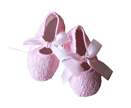 Encantador de la de encaje Lemandy punto de cruz para niños de madera para caminar zapatos de baile para diseño de zapatos con de mariposa y crío correa de cuero de BS004 marfil Talla:12 rosa