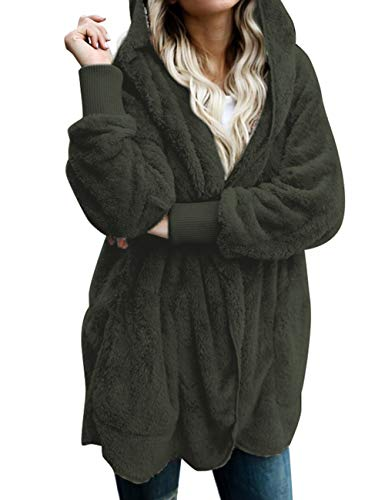 ACKKIA Women's Casual Draped Open Front Oversized Pockets Hooded Coat Cardigan Dark Green Size XX-Large (US 20-US 22)