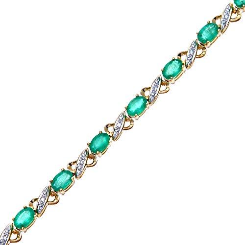 Naava - Bracelet - Femme - Or jaune (9 carats) 7 Gr - Diamant - Emeraude 6.42 Cts