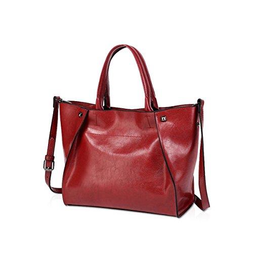NICOLE&DORIS 2018 Nueva moda de Las Señoras Todo-fósforo Manejar Hobo Hombro Satchel Bolsas de Mano Bolsos Monedero para Las Mujeres (Negro) Vino Rojo