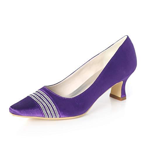 5 Hlg Para Zapatos Tacón De Bajo Boda 5 Puntiaguda Cm Punta Y 40eu Satén Altos A Tacones Mano darkpurple Mujer Tacón Hechos Con rrIUwqd