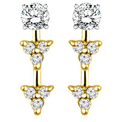 0.24 ct. tw. 10K Gold Trillion Shaped Earring Jackets with White Sapphire