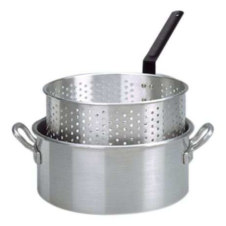10 Qt. Aluminum Deep Fryer with 2 Riveted Handle and Punched Aluminum Basket with Heat Resistant Handle
