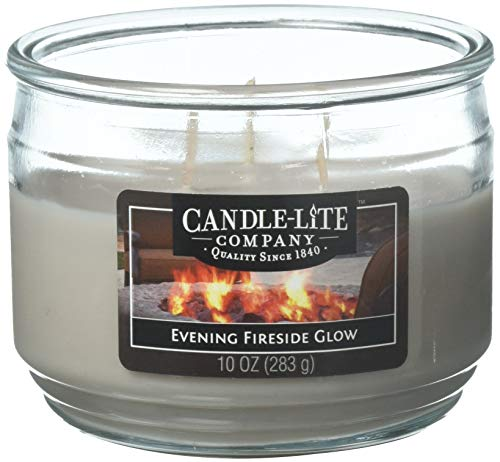 - Candle-Lite Everyday Scented Evening Fireside Glow 3-Wick Jar Candle, 10 oz, Gray