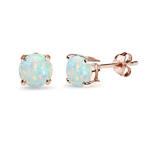 Gold Opal Bracelet (Rose Gold Flashed Sterling Silver Simulated White Opal 6mm Round Stud Earrings)