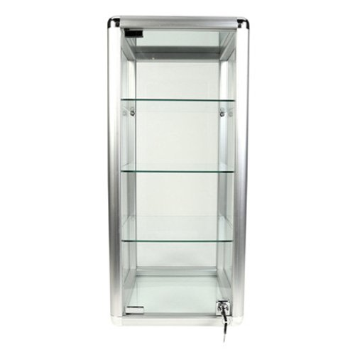 - Aluminum Framed Square 3 Glass Shelves Countertop Showcase 12 in.W x 14 in.D