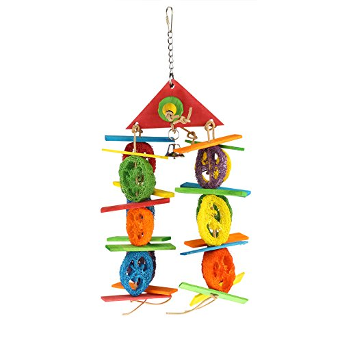 41m1p6g%2BfbL - SMiLEiZE Bird Toy Colorful Loofah Leather Wood and Hanging Bell for Medium Birds. A Great Chewing Parrot Cage Bird Toys for Cockatoo African Grey Cockatiel and other Amazon Birds