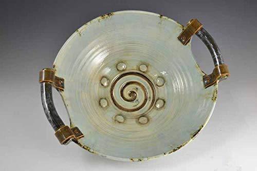 (Pottery bowl with handles, Ceramic bowl, bowl with handles, blue pottery, blue dish, handmade bowl, large bowl, blue bowl, round platter)